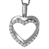 Jools By Jenny Brown Sterling Silver Tangled Pave Heart Pendant Rhodium