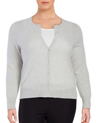 Lord And Taylor Plus Cashmere Button Front Cardigan Light Grey Heather