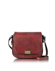 Roccobarocco Lizard Print Eco Leather Crossbody Bag Burgundy