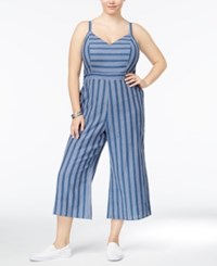 American Rag Trendy Plus Size Striped Chambray Jumpsuit Only At Macy's Eclipse Combo