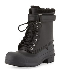 Rubber And Shearling Fur Lace Up Boot Black Hunter Boot