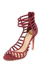 Schutz Saule Cutout Sandals Red Wine