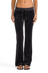 Juicy Couture Velour Bootcut Pant With Snap Pockets Gray