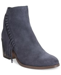 Kenneth Cole Reaction Rotini Fringe Ankle Booties Women's Shoes Navy
