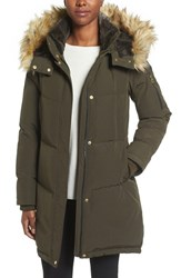 Vince Camuto Women's Down And Feather Fill Parka With Faux Fur Trims Olive