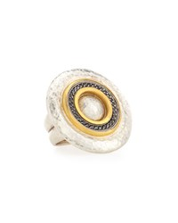 Gurhan Two Tone Black Diamond Disc Statement Ring Size 6.5