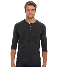 Alternative Apparel 3 4 Raglan Henley Eco Black Men's Long Sleeve Pullover