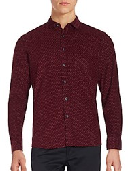 Saks Fifth Avenue Black Long Sleeve Cord Shirt Red