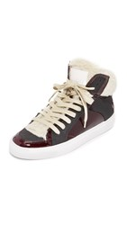 Maison Martin Margiela Lace Up High Top Sneakers Bordeaux Beige Black
