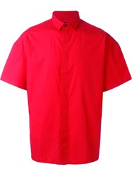 Les Hommes Wide Short Sleeve Button Down Shirt Red