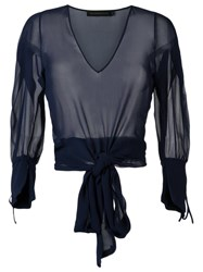 Giuliana Romanno Sheer Blouse Blue