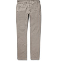 Massimo Alba Slim Fit Cotton And Cashmere Blend Chinos Brown