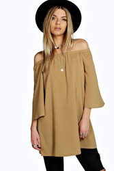 Boohoo Off The Shoulder Woven Tunic Stone