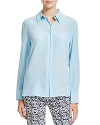 Tory Burch Silk Button Down Blouse Riviera Blue