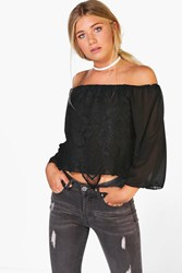Boohoo Woven Off The Shoulder Lace Top Black