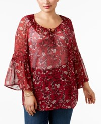 Styleandco. Style Co. Plus Size Bell Sleeve Sheer Peasant Top Only At Macy's Autumn Red