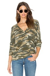 Chaser Double V Neck Sweater Green