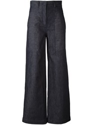 Dkny Printed Wide Leg Cropped Jeans Blue
