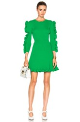 Victoria Beckham Fitted Ruffle Dress In Green