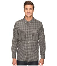 Exofficio Air Strip Micro Plaid Long Sleeve Top Cinder Men's Long Sleeve Button Up Gray