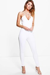 Boohoo Strappy Cross Front Jumpsuit Ivory