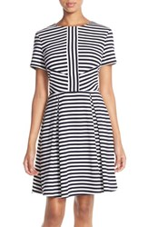 Women's Kut From The Kloth Stripe Ponte Fit And Flare Dress