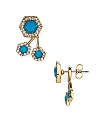 Rebecca Minkoff Geometric Pave Ear Jackets Turquoise And Crystal
