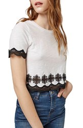 Women's Topshop 'Daisy' Embroidered Crop Tee