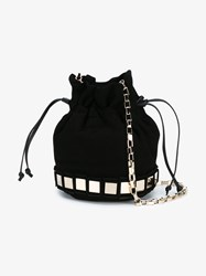 Tomasini Lucile Mini Suede Bucket Bag Black Silver Mint Champagne Grey