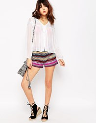Brave Soul Rainbow Knitted Shorts Multi