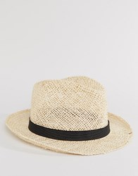 Catarzi Straw Trilby With Black Striped Band Beige