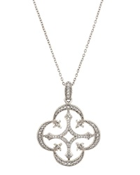 Jude Frances 18K Pave Open Clover Fleur Cross Pendant Necklace Green