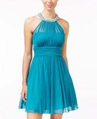 Speechless Juniors' Embellished Ruched Fit And Flare Dress Teal