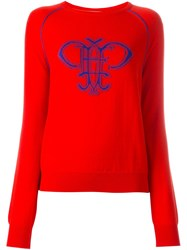 Emilio Pucci Round Neck Logo Jumper Red