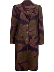 Kenzo Vintage Woven Feather Coat Brown