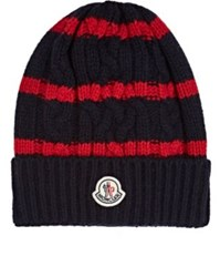 Moncler Men's Striped Cable Knit Wool Cashmere Beanie Navy