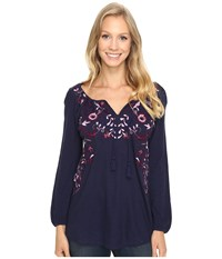 Lucky Brand Embroidered Peasant Top Navy Multi Women's Clothing Blue