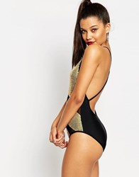 Jaded London Gold Block Sequin Swimsuit Gold Multi