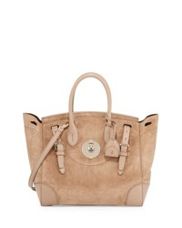 Ralph Lauren Soft Ricky 33 Suede Satchel Bag Taupe