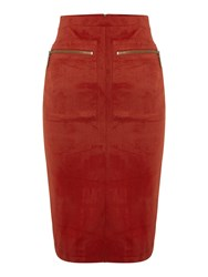 Therapy Polly Suedette Pencil Skirt Burnt Orange