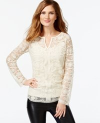 Inc International Concepts Lace Split Neck Top Only At Macy's Birch Tree
