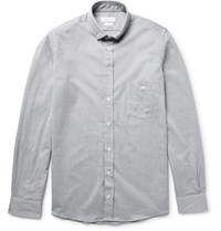 Richard James Slim Fit Button Down Collar Cotton Chambray Shirt Gray