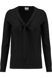 Madeleine Thompson Pussy Bow Cashmere Sweater Black