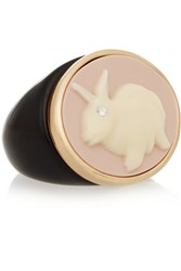 Marc By Marc Jacobs Bunny Cameo Gold Tone And Plastic Ring