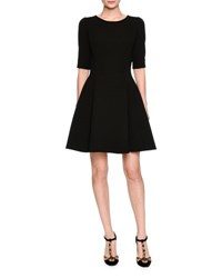 Dolce And Gabbana Elbow Sleeve Fit Flare Dress Black