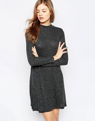 B.Young Long Sleeve Swing Dress Black Melange