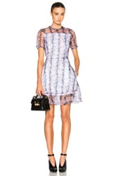 Carven Organza Floral Mini Dress In Purple White Floral