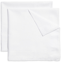Brooks Brothers Set Of Six Hand Rolled Cotton Handkerchiefs White