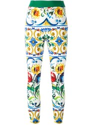 Dolce And Gabbana Majolica Print Cropped Trousers Multicolour