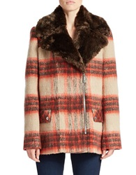 Kenneth Cole Reaction Faux Fur Collared Plaid Coat Brown